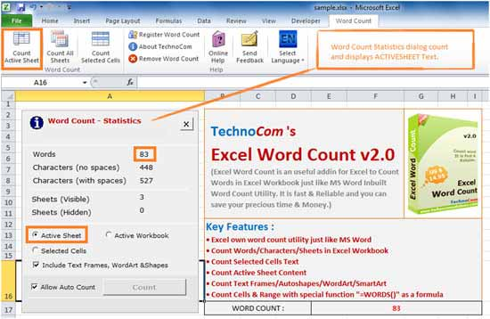 It can count words in .xls, .xlsx, .xlsm, and almost all formats of Excel
