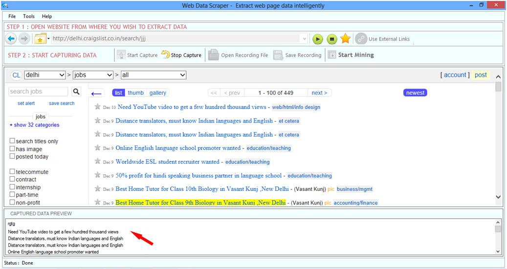 Web Data Scraper full screenshot