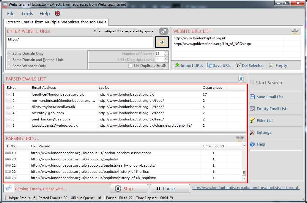 Windows 7 Website Email Extractor 5.0.8.28 full